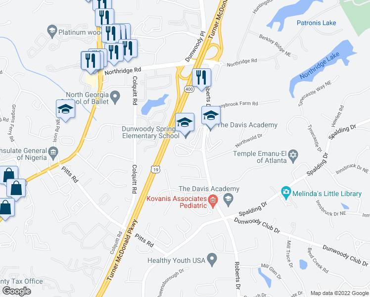 map of restaurants, bars, coffee shops, grocery stores, and more near 8100 Roberts Drive in Atlanta