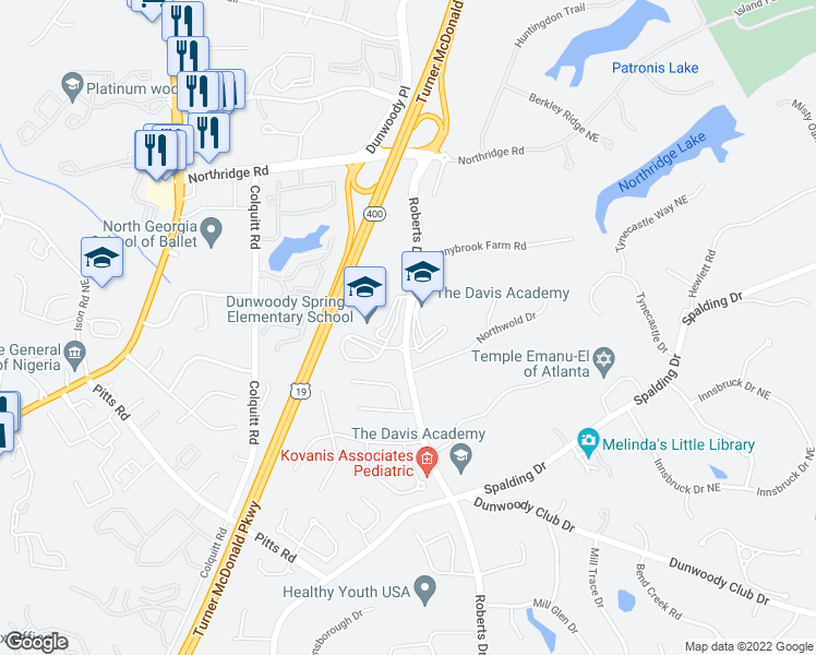 map of restaurants, bars, coffee shops, grocery stores, and more near 8116-8128 Roberts Drive in Sandy Springs