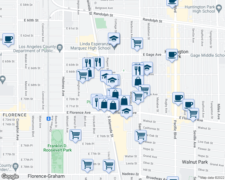 map of restaurants, bars, coffee shops, grocery stores, and more near 6720 Alameda St in Huntington Park