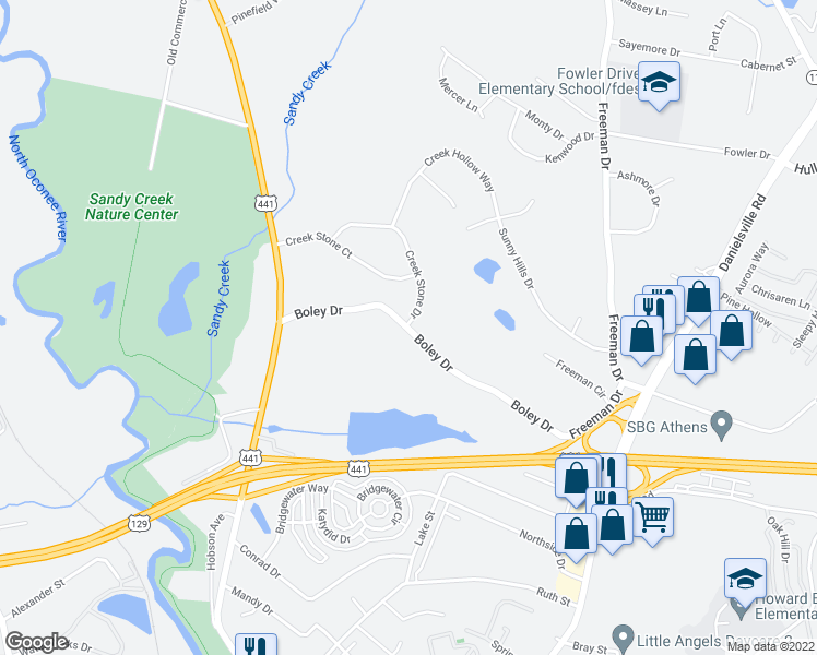 map of restaurants, bars, coffee shops, grocery stores, and more near 295 Boley Drive in Athens