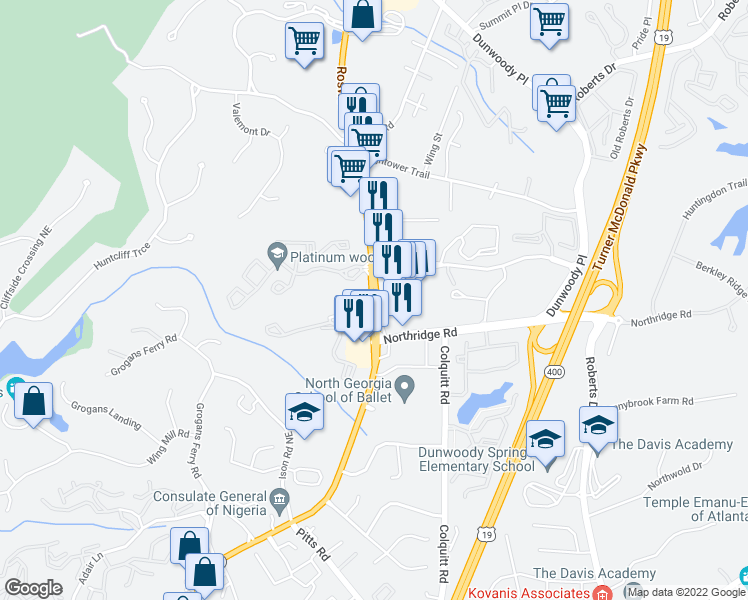 map of restaurants, bars, coffee shops, grocery stores, and more near 491-577 Sugar Mill Road in Sandy Springs