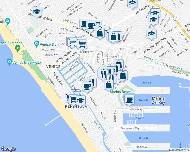 map of restaurants, bars, coffee shops, grocery stores, and more near 2815 Ocean Avenue in Los Angeles