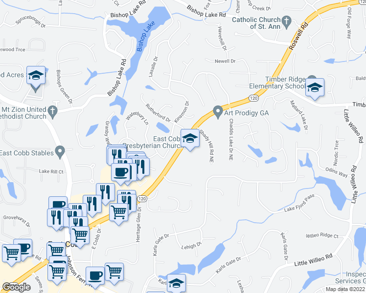 map of restaurants, bars, coffee shops, grocery stores, and more near 4583 Rutherford Drive in Marietta