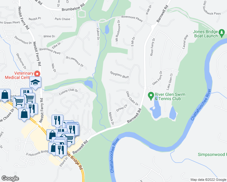 map of restaurants, bars, coffee shops, grocery stores, and more near 785 Olde Clubs Drive in Alpharetta