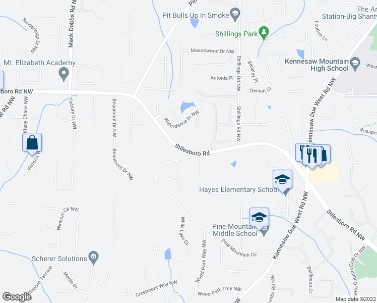 map of restaurants, bars, coffee shops, grocery stores, and more near 2978 Stilesboro Road Northwest in Kennesaw