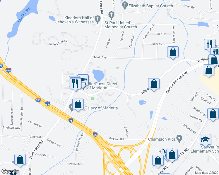 map of restaurants, bars, coffee shops, grocery stores, and more near 523-537 Williams Dr in Marietta