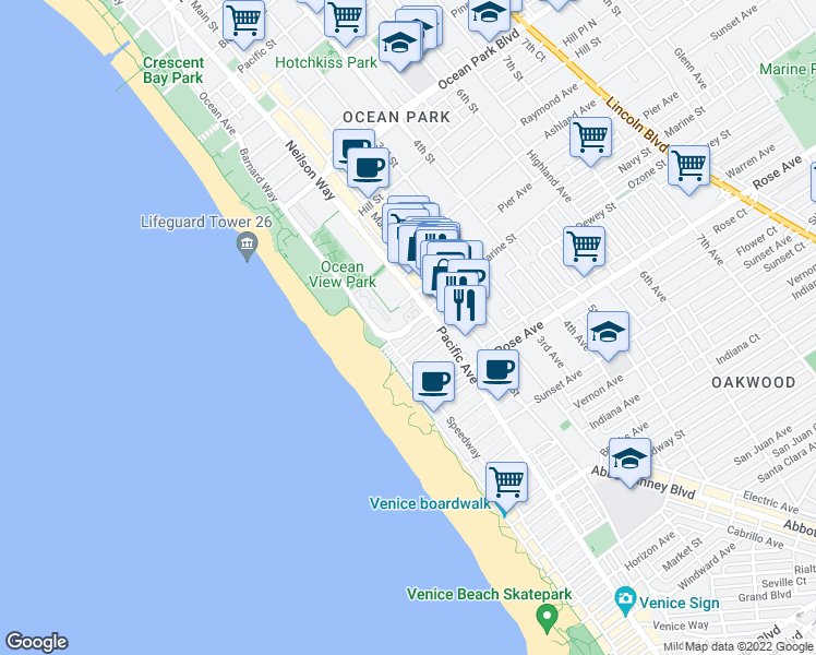 map of restaurants, bars, coffee shops, grocery stores, and more near 3355 Barnard Way in Santa Monica