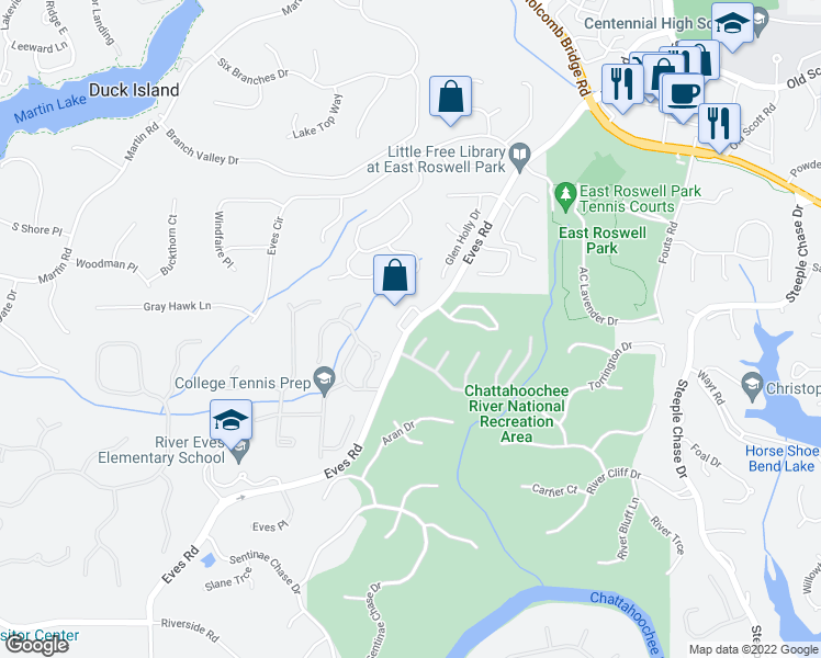map of restaurants, bars, coffee shops, grocery stores, and more near 8920 Eves Road in Roswell