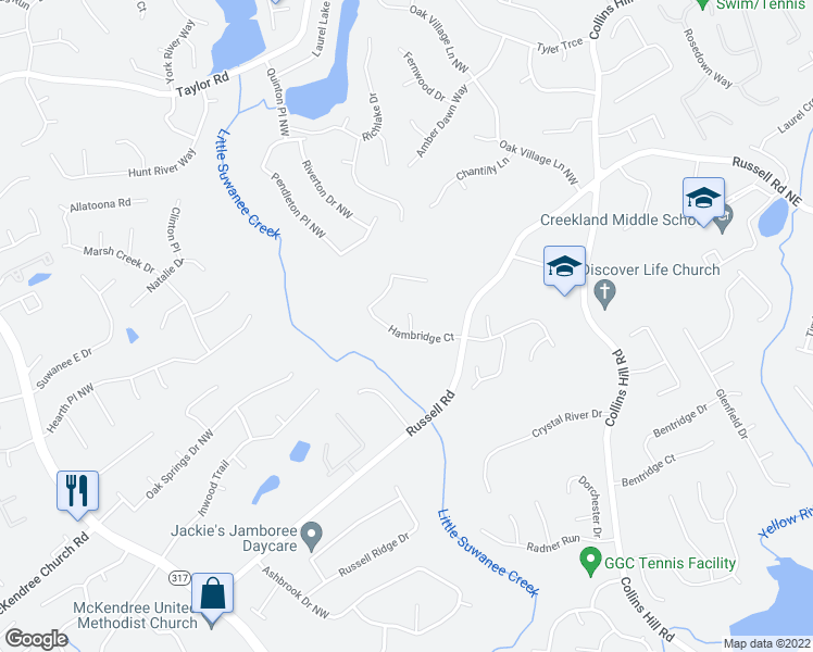 map of restaurants, bars, coffee shops, grocery stores, and more near 270 Hambridge Ct in Lawrenceville