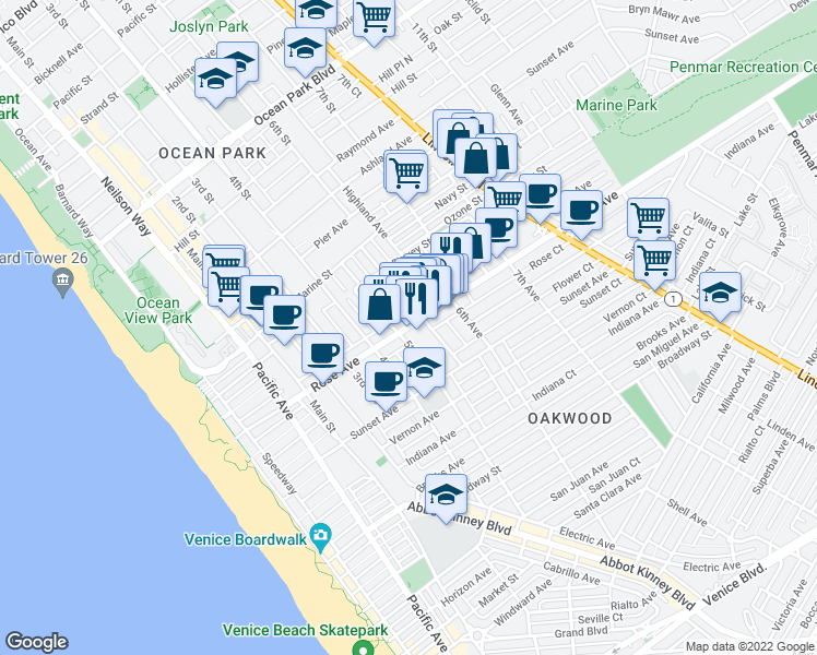 map of restaurants, bars, coffee shops, grocery stores, and more near 278-298 Dimmick Avenue in Los Angeles