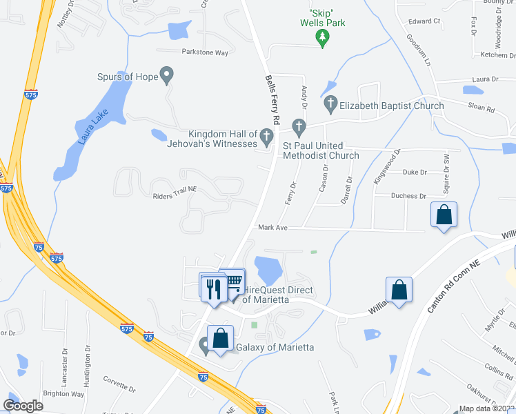 map of restaurants, bars, coffee shops, grocery stores, and more near Bells Ferry Rd in Marietta