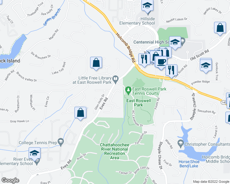 map of restaurants, bars, coffee shops, grocery stores, and more near Autumn Ridge Trail in Roswell