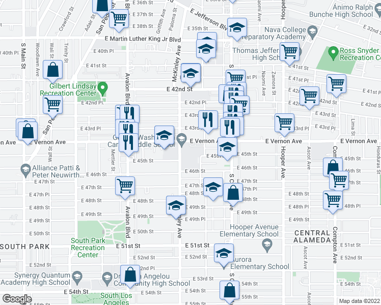 map of restaurants, bars, coffee shops, grocery stores, and more near 892-998 E Vernon Ave in Los Angeles