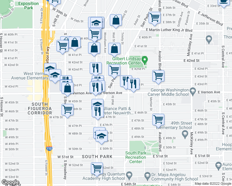 map of restaurants, bars, coffee shops, grocery stores, and more near 204 E Vernon Ave in Los Angeles