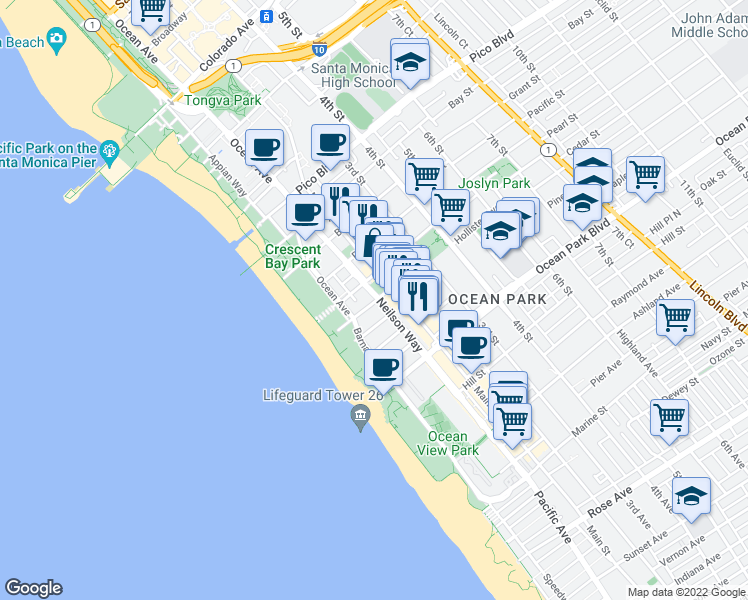 map of restaurants, bars, coffee shops, grocery stores, and more near 159 Hollister Avenue in Santa Monica