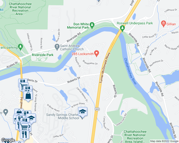 map of restaurants, bars, coffee shops, grocery stores, and more near 9466-9474 Roberts Dr in Sandy Springs