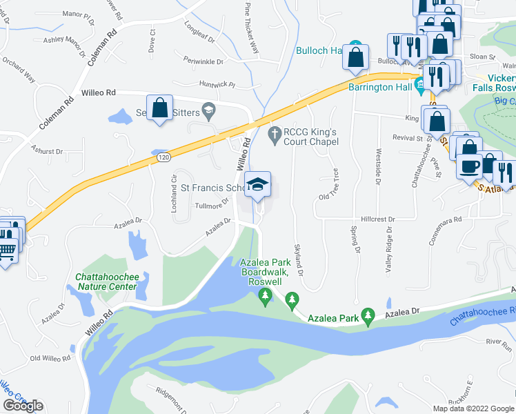 map of restaurants, bars, coffee shops, grocery stores, and more near 9375 Willeo Road in Roswell