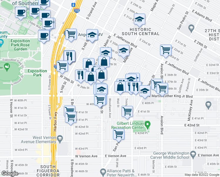 map of restaurants, bars, coffee shops, grocery stores, and more near Maple Ave & Woodlawn Ave in Los Angeles