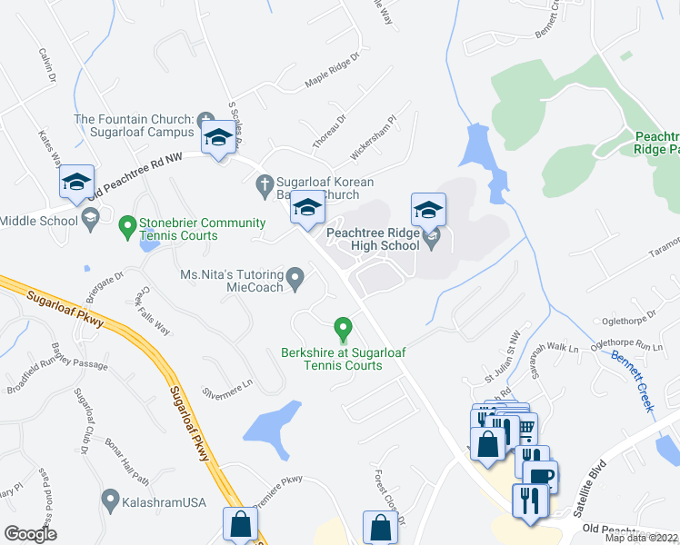 map of restaurants, bars, coffee shops, grocery stores, and more near 1555 Old Peachtree Rd NW in Suwanee