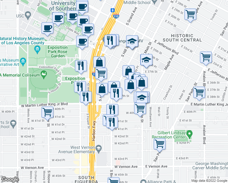 map of restaurants, bars, coffee shops, grocery stores, and more near West 39th Street in Los Angeles