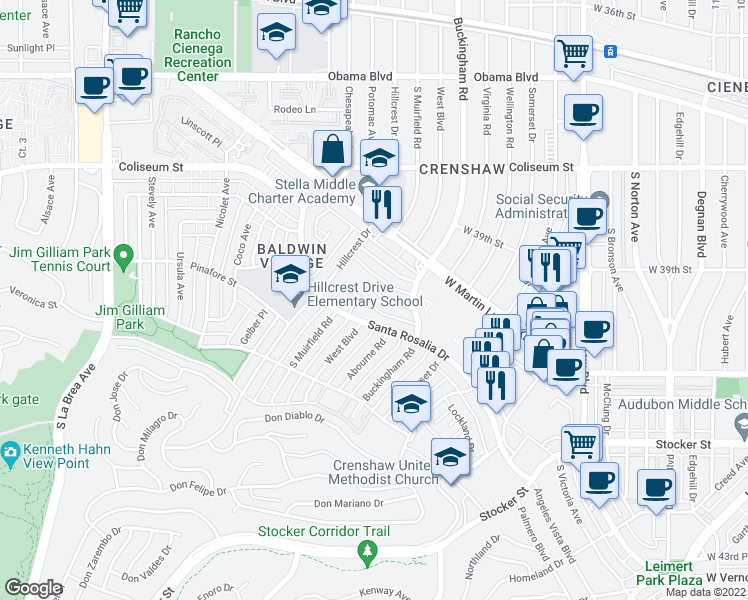 map of restaurants, bars, coffee shops, grocery stores, and more near 4106 Palmwood Drive in Los Angeles