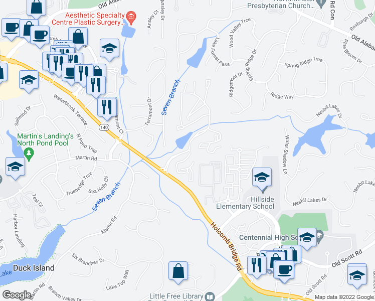 map of restaurants, bars, coffee shops, grocery stores, and more near 4013 Calibre Creek Parkway in Roswell