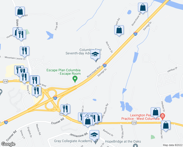map of restaurants, bars, coffee shops, grocery stores, and more near 210-258 Riverchase Way in Lexington