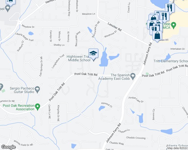 map of restaurants, bars, coffee shops, grocery stores, and more near 3861-3879 Post Oak Tritt Rd in Marietta