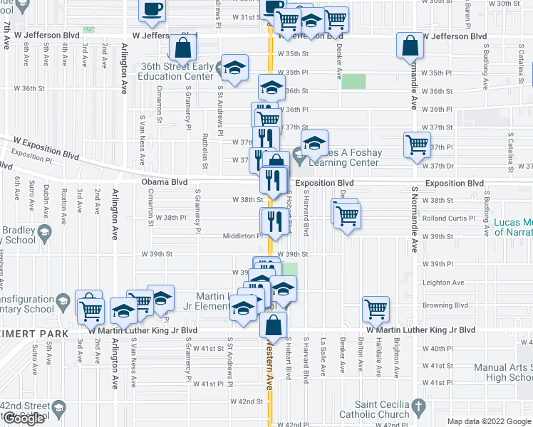 map of restaurants, bars, coffee shops, grocery stores, and more near 3821 S Western Ave in Los Angeles
