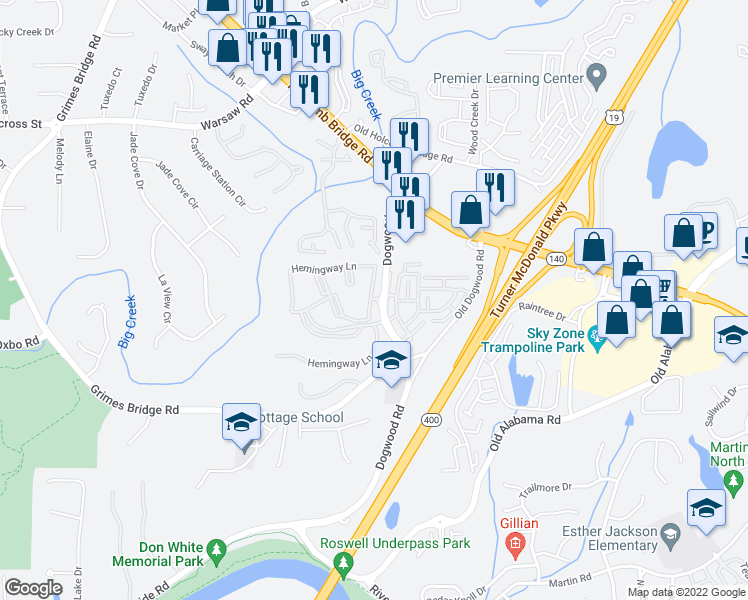 map of restaurants, bars, coffee shops, grocery stores, and more near 2455-2943 Hemingway Lane in Roswell