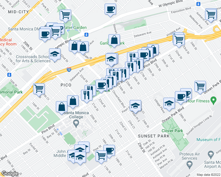 map of restaurants, bars, coffee shops, grocery stores, and more near Pico Boulevard & Cloverfield Boulevard in Santa Monica