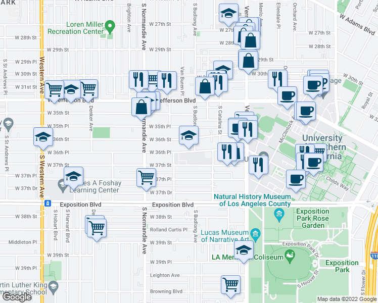 map of restaurants, bars, coffee shops, grocery stores, and more near 1260 West 36th Place in Los Angeles