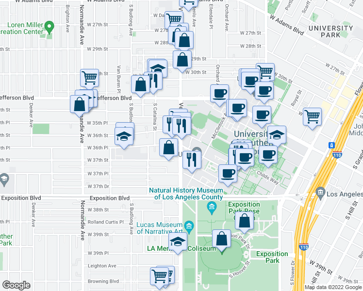 map of restaurants, bars, coffee shops, grocery stores, and more near W 36th Pl in Los Angeles