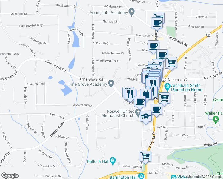 map of restaurants, bars, coffee shops, grocery stores, and more near 125 Pine Grove Rd in Roswell