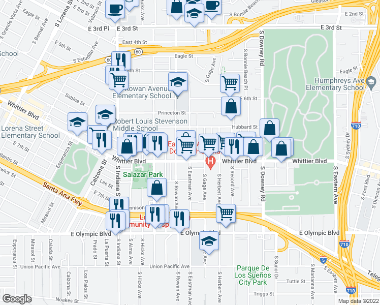 map of restaurants, bars, coffee shops, grocery stores, and more near 829 S Eastman Ave in Los Angeles