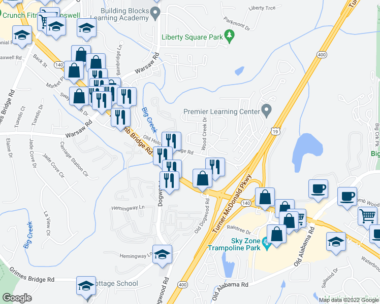 map of restaurants, bars, coffee shops, grocery stores, and more near Dogwood Road in Roswell
