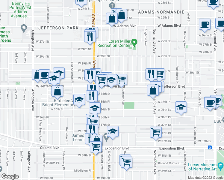 map of restaurants, bars, coffee shops, grocery stores, and more near 1614 West 35th Street in Los Angeles