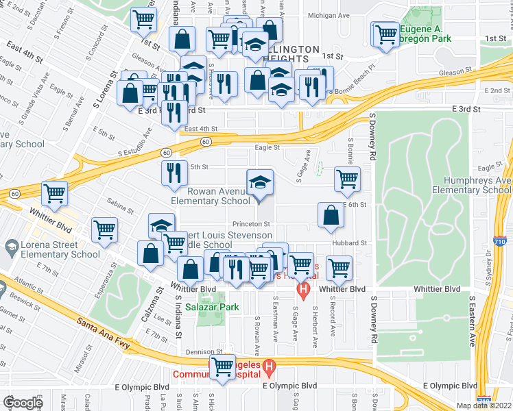 map of restaurants, bars, coffee shops, grocery stores, and more near 3736 Lanfranco Street in Los Angeles