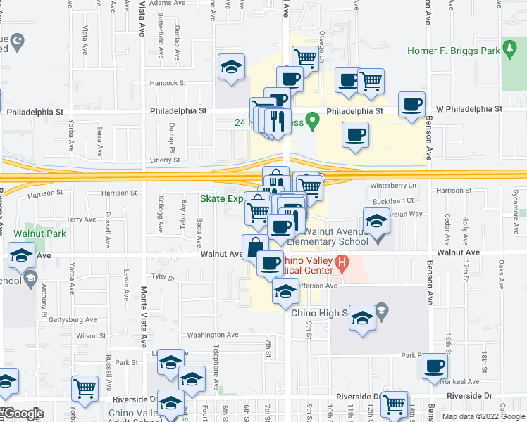 map of restaurants, bars, coffee shops, grocery stores, and more near 12301-12351 Marshall Avenue in Chino