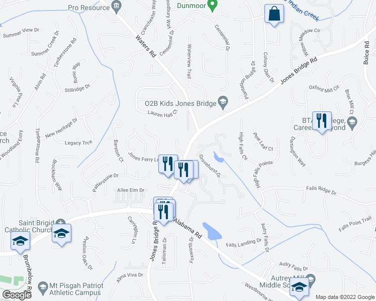map of restaurants, bars, coffee shops, grocery stores, and more near 10180 Jones Bridge Rd in Alpharetta