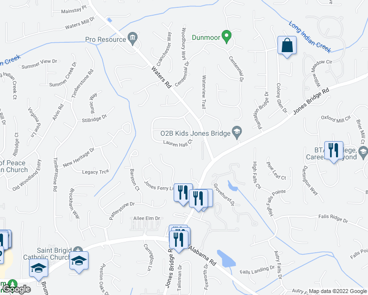 map of restaurants, bars, coffee shops, grocery stores, and more near 10095 Lauren Hall Court in Alpharetta