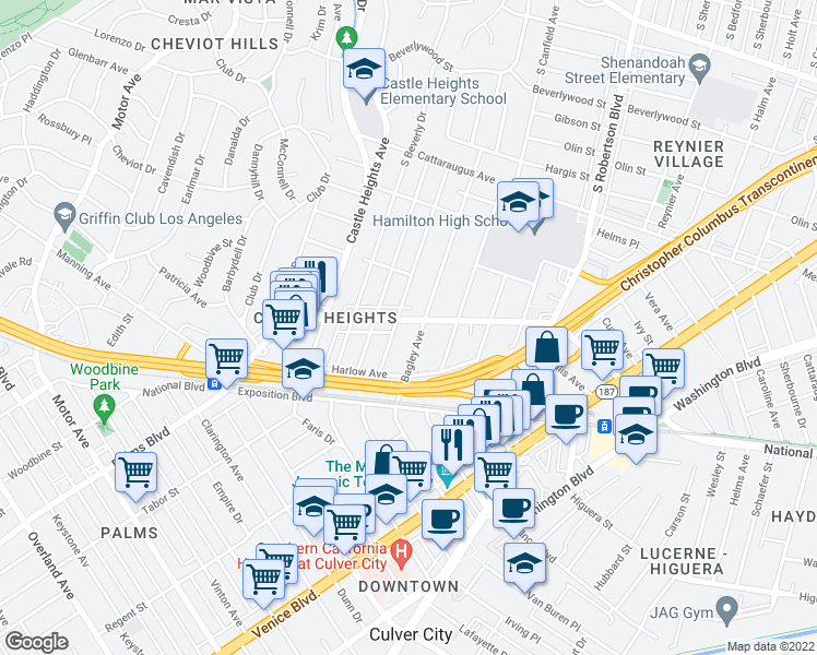 map of restaurants, bars, coffee shops, grocery stores, and more near 9418 National Boulevard in Los Angeles