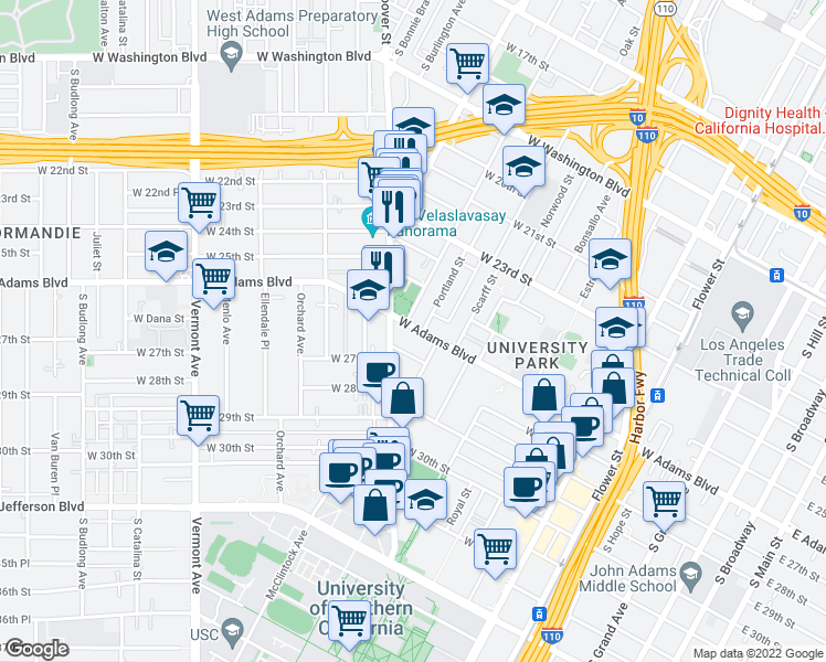 map of restaurants, bars, coffee shops, grocery stores, and more near 948 West Adams Boulevard in Los Angeles