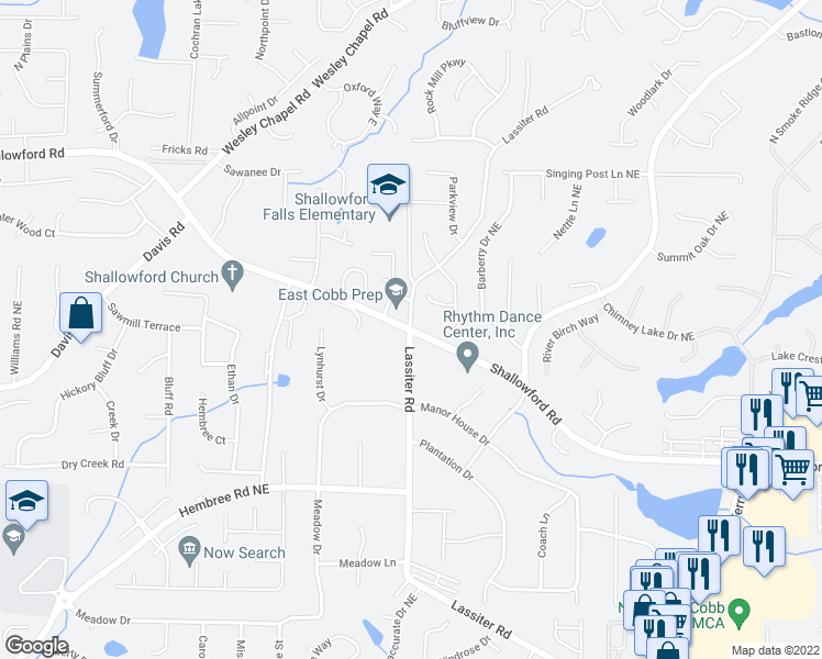 map of restaurants, bars, coffee shops, grocery stores, and more near 3921 Shallowford Road in Marietta