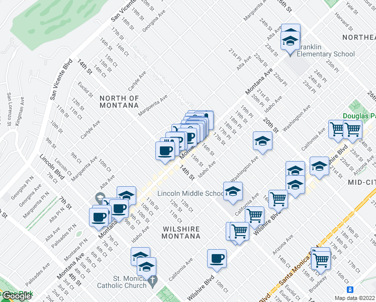 map of restaurants, bars, coffee shops, grocery stores, and more near Montana Avenue & 15th Street in Santa Monica