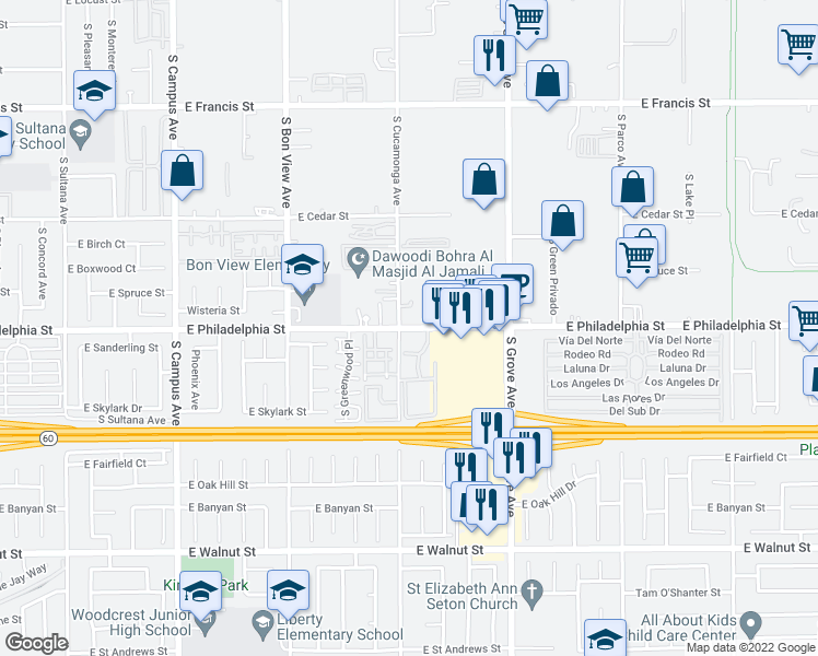 map of restaurants, bars, coffee shops, grocery stores, and more near 2159 S Cucamonga Ave in Ontario