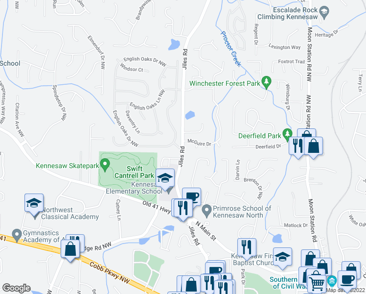 map of restaurants, bars, coffee shops, grocery stores, and more near 2601-2613 McGuire Drive in Kennesaw