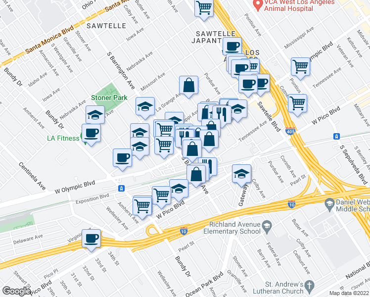 map of restaurants, bars, coffee shops, grocery stores, and more near 2101-2199 Barry Avenue in Los Angeles