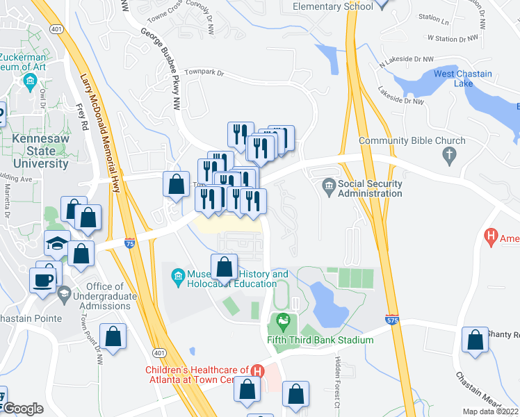 map of restaurants, bars, coffee shops, grocery stores, and more near 3350 George Busbee Parkway Northwest in Kennesaw