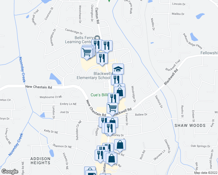 map of restaurants, bars, coffee shops, grocery stores, and more near 3417 Canton Road in Marietta
